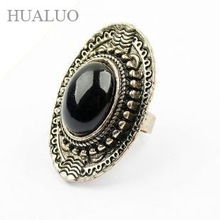 Minimum Order is $15,Free Shipping European and American Temperament Wild Retro Oval  Ring (Black)# R4