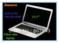 "13.3""ultra slim all silver laptop 4GB Ram,500GB ,HDD D2550 1.86GHZ CPU,Intel Dual Core,Multi language Windows 7 system"
