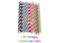 "5"" size Paper Straws with more than 103 colors mixed,  2000pcs/lot, and PET bag 25pcs packing,Dots,Chevrons, Stripe, Star red"