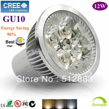 10X High Power GU10 4X3W 12W dimmable LED lighting Spotlight  led bulbs led lamp 85-265V  free shipping
