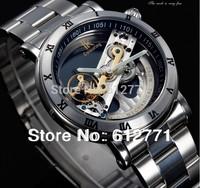 Guaranteed  Brand Luxury Wrist mechanical watch hollow through personality Business men full steel fashion dress sports watches