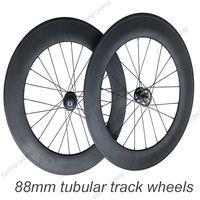 FREE SHIPPING 700c 88mm tubular  carbon track bike wheels fixed gear Single speed bicycle wheelset