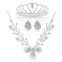 Free Shipping Hot Sale Fashion Rhinestones Wedding Jewelry Sets Silver Set Bridal Necklace Set Wedding Decoration Christmas Gift