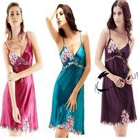LZ women's summer sleepwear polyester silk sexy lace flower embroidery night slip dress plus size XXXL long night gown lingerie