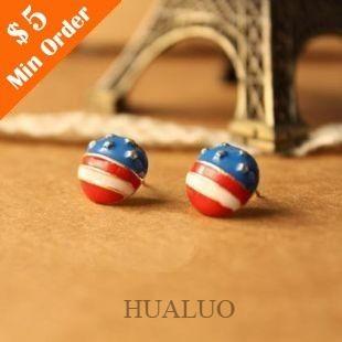 Korean Pop Fashion Jewelry High Quality American flag Earring (Show as pics) E83(China (Mainland))