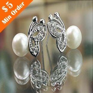 Fashion Jewelry Cute Tassel Fima Pearl Drop  Earrings Butterfly Pearl Earring(White) E109