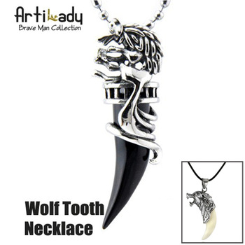 Artilady 2014 NEW Brave man wolf tooth necklace Fashion titanium steel necklace men jewelry Epacket Free Shipping