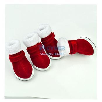 Red Pet Dog Shoes Puppy Cozy Boot Cute Chrismas Santa Puppy Pet Apparel 5 Sizes  3374