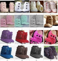 Handmade baby crochet snow booties 0-12M infant first walker shoes loops design ruffles cotton 16pairs/lot custom