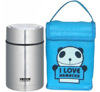 Stainless Steel Korean Thermos Lunch Box for Kids Food Box Lunchbox Food Container w/ Insulated Blue Panda Lunch Bag 750ml