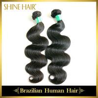 2Pcs/lot 6A Brazilian virgin hair body wave extension machine weft human hair weaves top quality mixed length freeshipping