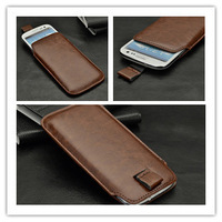 Leather PU Pouch Case Bag for Iphone 5G 5Th & Samsung Galaxy S3 SIII GT-I9300 + 1 Screen Protector,Free Shipping Wholesales