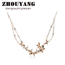 ZYN038 Butterfly Love Flowers 18K Champagne Gold Plated Pendant Necklace Jewelry Austrian Crystal SWA Elements Wholesale