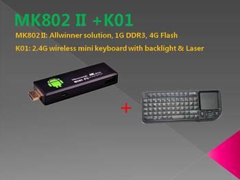 Rikomagic MK802 II Mini Android 4.0 PC Android TV Box A10 Cortex A8 1GB RAM 4G ROM HDMI TF Card +K01 wireless mini keyboard