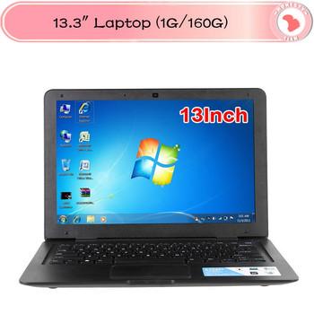 13 inch Ultra thin Cheap laptop computer Intel atom d2500 1.8 netbook win 7 1G RAM 160G HDD  notebook pc 6 Cell Battery