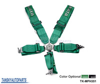 Black / Green - Seat Belt with 5pcs FIA 2018 Homologation / Harness / Racing Satefy Seat Belt /width:3 inches/5Point TK-MPH351
