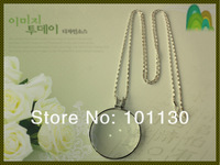 Great Promotional Gift Decorative Monocle Necklace Magnifier Silver Coin Magnifying Glass Pendant  MG12092