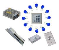 Free shipping ,access control kit ,one EM keypad access control +power+bolt lock +door bracket+exit button +10 em card,sn:em-002