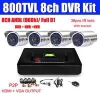 800TVL 8ch CCTV System 4pcs 800TVL Waterproof IR Cameras 8ch HDMI Output CCTV DVR Recorder 2CH D1 + 6CH CIF DVR Kit