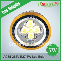 AC85-265V E27 5W  Warm White/White LED High Power  LED Spotlight LED BULB Lamp  Lighting FREE SHIPPING
