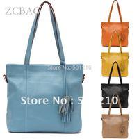 Fast Sending, Free shipping, 100% Soft  Real Genuine Cow Leather Lady Women's Tassels Bag, Shoulder/Messenger Handbag