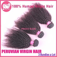 3pcs/lot Grade 5A Peruvian Curly Hair Extensions,Afro Kinky Curly Human Hair Bundle,Unprocessed Peruvian Virgin Curly Hair Weave