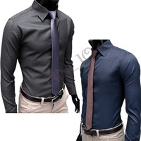 Free Shipping+ New Mens Shirt+Casual Slim Fit Stylish Hot Dress Shirts long sleeve 2color,4 Size,dropshipping3654