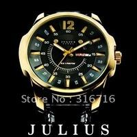 Original Top Brand JULIUS Quartz Men's Wrist Watch,Luxury Fashion Waterproof Sport Watches,Leather Strap Watches 017 Authentic