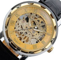 Silver Skeleton Analog Display Watch Casual Mens & Womens Mechanical Watch