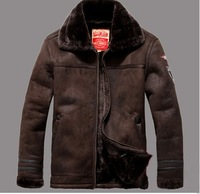 2014 leather fur jacket man autumn winter hot male overcoat casual long warm coat men big size black brown trench coat FLM097