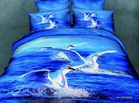 White Swan Blue Ocean 3d bedding set queen size 4pcs animal comforter/duvet cover bed sheet bedclothes cotton home textile