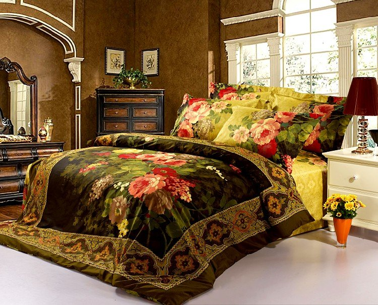 Classic Luxury 3d Oil painting bedding set queen/king size 4pcs red flower comforter set duvet cover bed sheet set 100 cotton(China (Mainland))