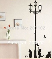 Miixed Ordered Free Shipping HL-1543 34*68cm Popular Ancient Lamp Cats and Birds Wall Sticker Wall Mural Home Decor Room Kids