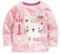 Girl's Fall Long Sleeves Cartoon Quality Tees 100% Cotton Knitted, 6 Sizes/lot - JBLT324/JBLT325/JBLT326/JBLT354/JBLT358/JBLT381