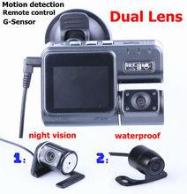 "Dual lens Car DVR Dual camera+Remote control+G-Sensor+MOV+2.0"" LCD+Night Vision+Motion detection Car Camera Video Free shipping(China (Mainland))"