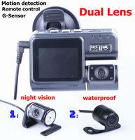 "Dual lens Car DVR Dual camera+Remote control+G-Sensor+MOV+2.0"" LCD+Night Vision+Motion detection Car Camera Video Free shipping"