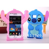 Free Shipping 3D Stitch Silicone Case Cover for Samsung I9100 Galaxy S 2 / II,free screen protector+Stitch Phone Case