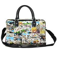 Korean comic waterproof canvas and PU handbag shoulder bag for teens, big capacity fashion bag for weekend, Taccu TH1204