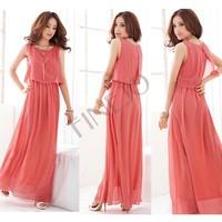 New Summer 2014 Women Bohenmia Pleated Wave Lace Strap Princess Chiffon Maxi long dress Four Colors M,L,XL B16 3694