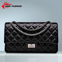 Luxury Fashion Vintage Women Chain Plaid Quilted Genuine Leather Women Shoulder Bag Handbag Lady Sheepskin Messenger Bags NO225