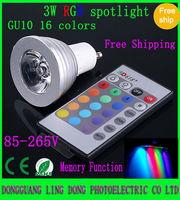 10pcs/lot 16 Color Changing GU10 3W 4W RGB LED Light Bulb Lamp spotlight 85V-265V & IR Remote Control (2lot is Wholesale
