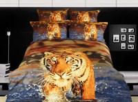 Animal 3d bedding sets queen size 4pcs Tiger/Lion/Leopard bedclothes cotton duvet/comforter cover bed sheet set home textile