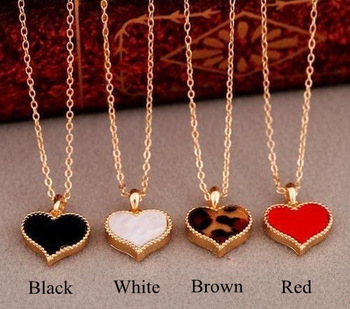 Lowest Price Fashion Red Black Leopard White Gift Heart Necklace Women MN069 Magi Jewelry