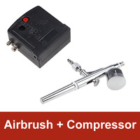 dual action airbrush air brush kit with compressor and spray gun for Nail Art/ tattoos body spray/ cake making/ toy models