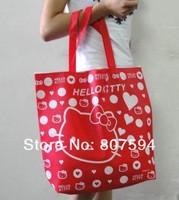 Free shipping 7colors choose 10pcs/lot big 44*40cm canvas handbags shoulder bag hello kitty cat handbag shopping tote face bags