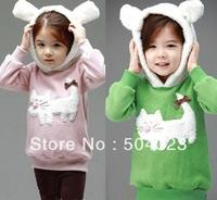 Free Shipping Hot cheaper 5pcs/lot Kids girls cat clothing/hoodies, baby girls hello kitty T shirts/Sweatshirts kids clothes