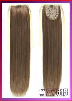 "22""(55cm) 90g straight ribbon ponytail hairpiece hair pieces clip in hair extensions color #27/613 Mix Colors"
