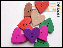 Bulk 100pcs DIY wooden heart shape buttons for craft mixed scrapbooking accessories products Free shipping over $8(China (Mainland))