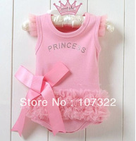 Retail cute&fashion Baby romper Girl's Wear The lovely princess pink bow lace Romper baby clothes RMP0021
