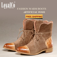 Free shipping Autumn and winter fashion suede genuine leather boots fashion women's boots fashion martin snow boots coffee